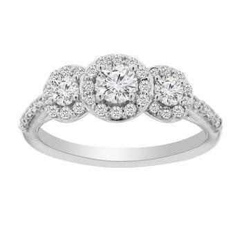 3/4ct tw Diamond Three Stone Engagement Ring in 14K White Gold
