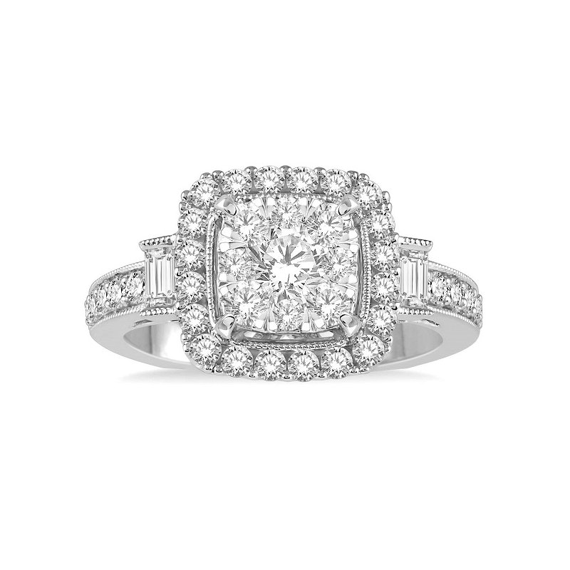 1 1/8ct tw Diamond Thousand Points of Light Engagment Ring in 14K White Gold