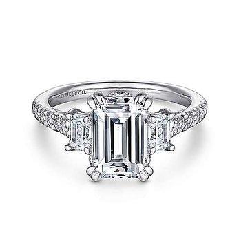 9/10ct tw Diamond Three Stone Engagement Ring Setting in 14K White Gold