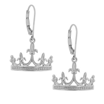 Mardi Gras Crown Earrings in Sterling Silver