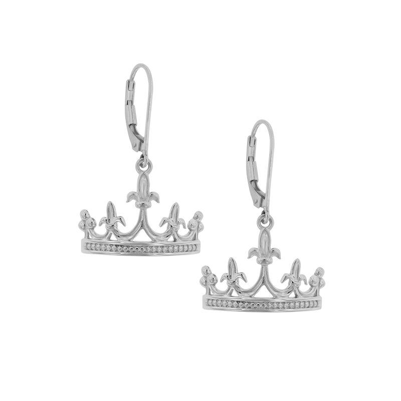 Mardi Gras Crown Earrings in Sterling Silver