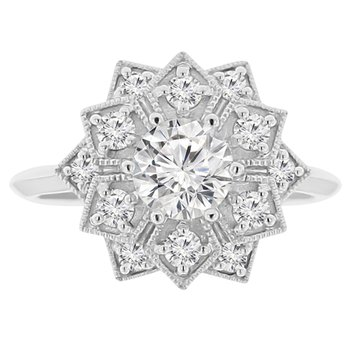 3/8ct tw Diamond Engagment Ring Setting in 14K White Gold