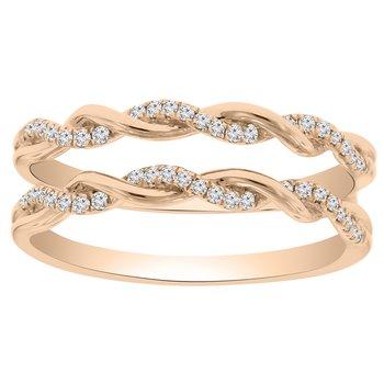 1/5ct tw Diamond Wedding Ring Guard in 14K Rose Gold
