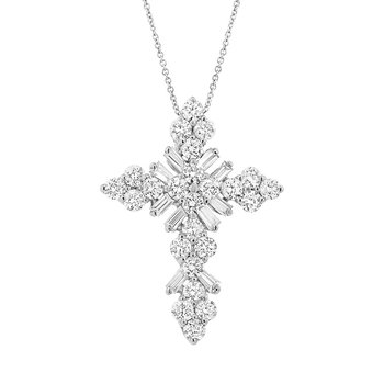 5/8ct tw Diamond Cross Necklace in 14K White Gold