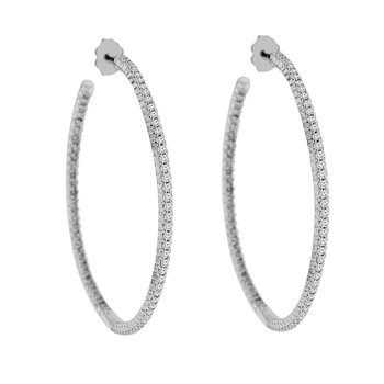 2 1/8ct tw Diamond Hoop Earrings in 14K White Gold
