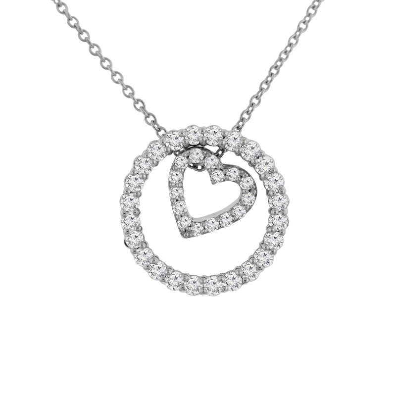 3/8ct tw NewBorn Lab Created Diamond Circle of Love Necklace in 10K White Gold