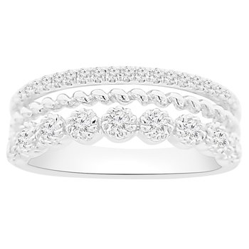 1/2ct tw NewBorn Lab Created Diamond Stacked Triple Ring in 10k White Gold