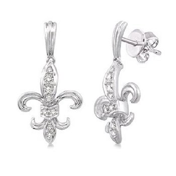 1/4ct tw Diamond Fleur De Lis Earrings in 14K White Gold