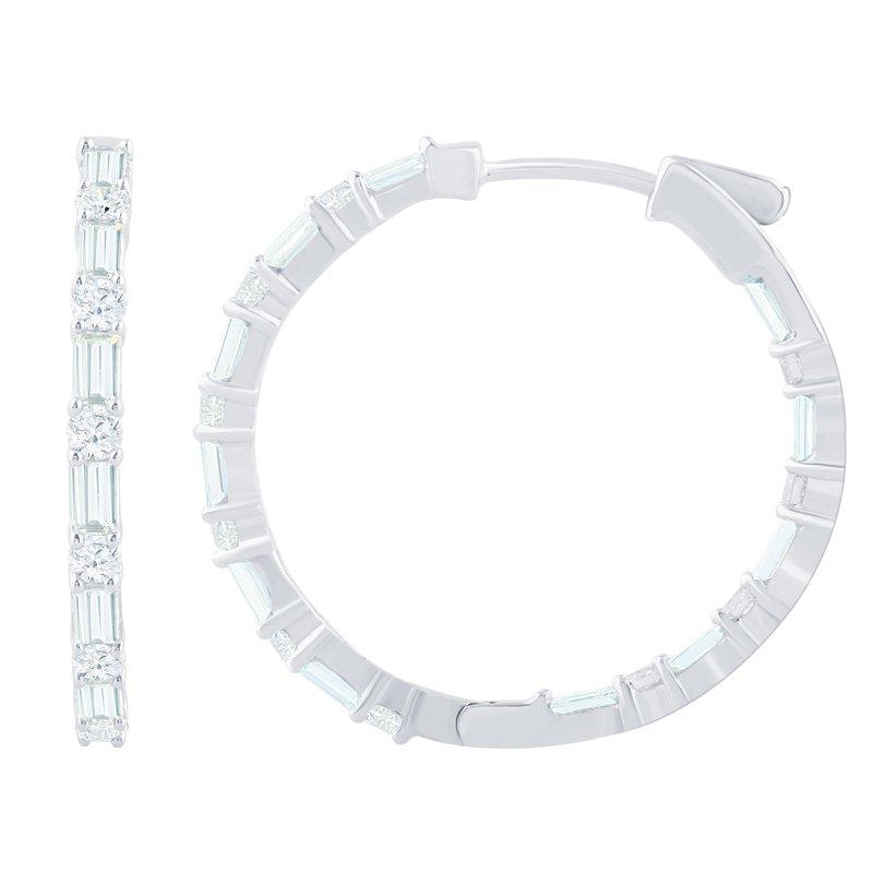 2 7/8ct tw Diamond Hoop Earrings in 14K White Gold