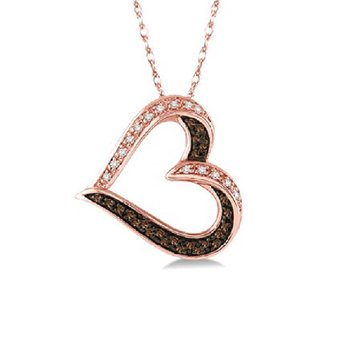 1/5ct tw Diamond Heart Necklace in 10K Rose Gold
