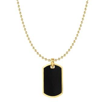 Dog Tag Pendant in 14K Yellow Gold & Black Enamel