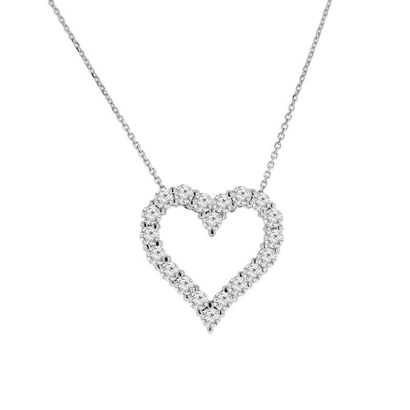 1 7/8ct tw NewBorn Lab Created Diamond Heart Necklace in 14K White Gold