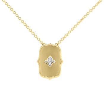 .01ct tw Diamond Fleur De Lis Necklace in 10K Yellow Gold