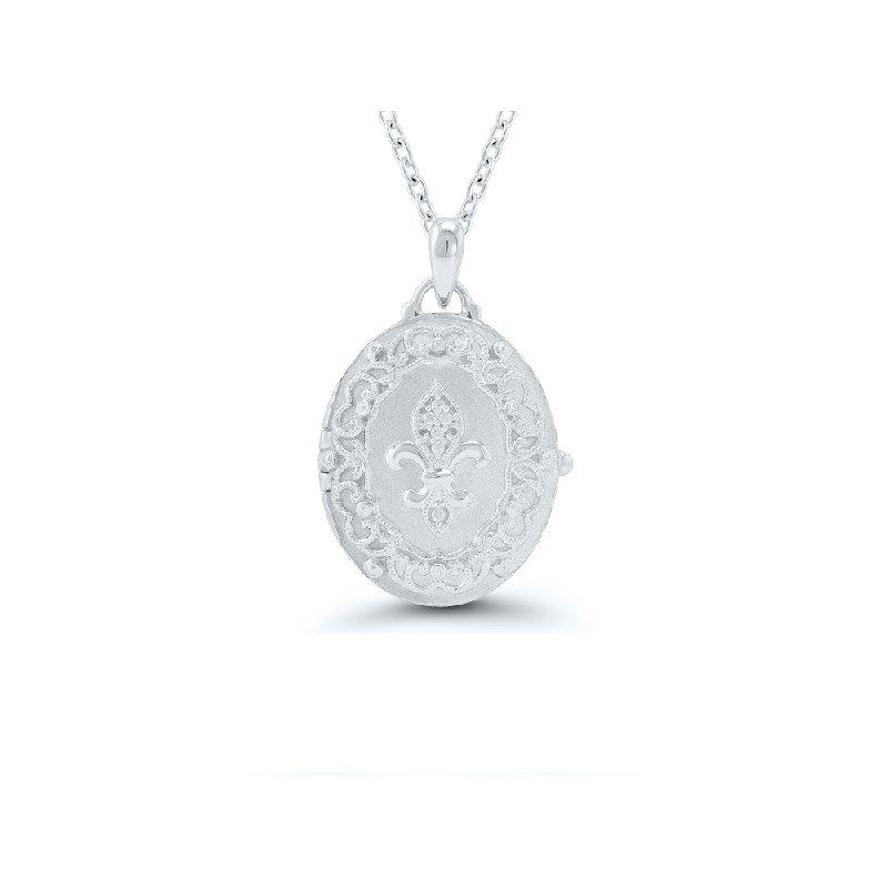 .03ct tw Diamond Fleur De Lis Locket in Sterling Silver