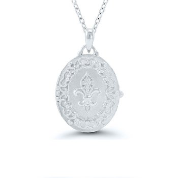 .03ct tw Diamond Fleur De Lis Locket in Sterling Silver