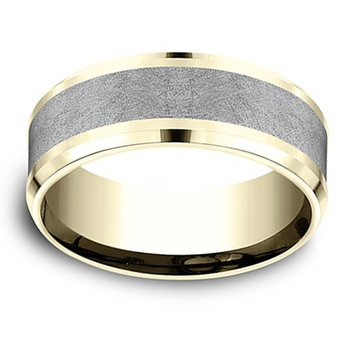 8mm Wedding Ring in Grey Tantalum & 14K Yellow Gold