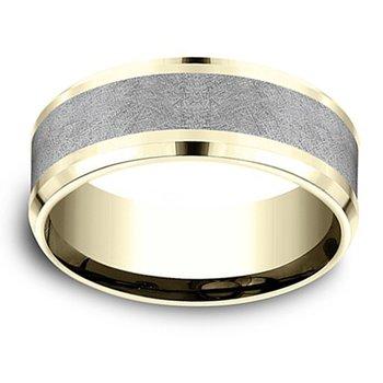 8mm Wedding Ring in Grey Tantalum & 14K Yellow Gold