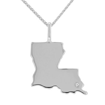 .01ct tw Diamond Louisiana State of Mind Necklace in Sterling Silver