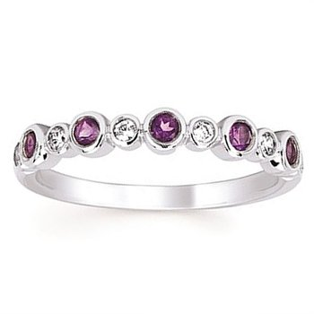1/10ct tw Diamond & Amethysts February Birthstone Ring in 14K White Gold