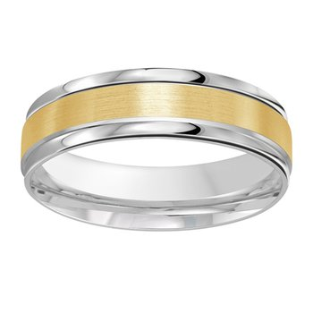 6mm Wedding ring in 14K White Gold & Yellow Gold