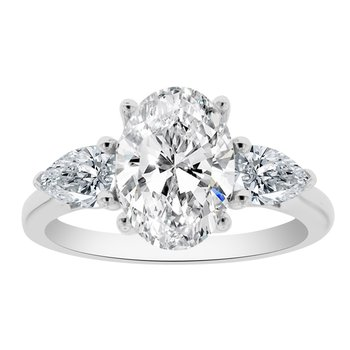 5/8ct tw NewBorn Lab Created Diamond Three Stone Engagement Ring Setting in 14K White Gold