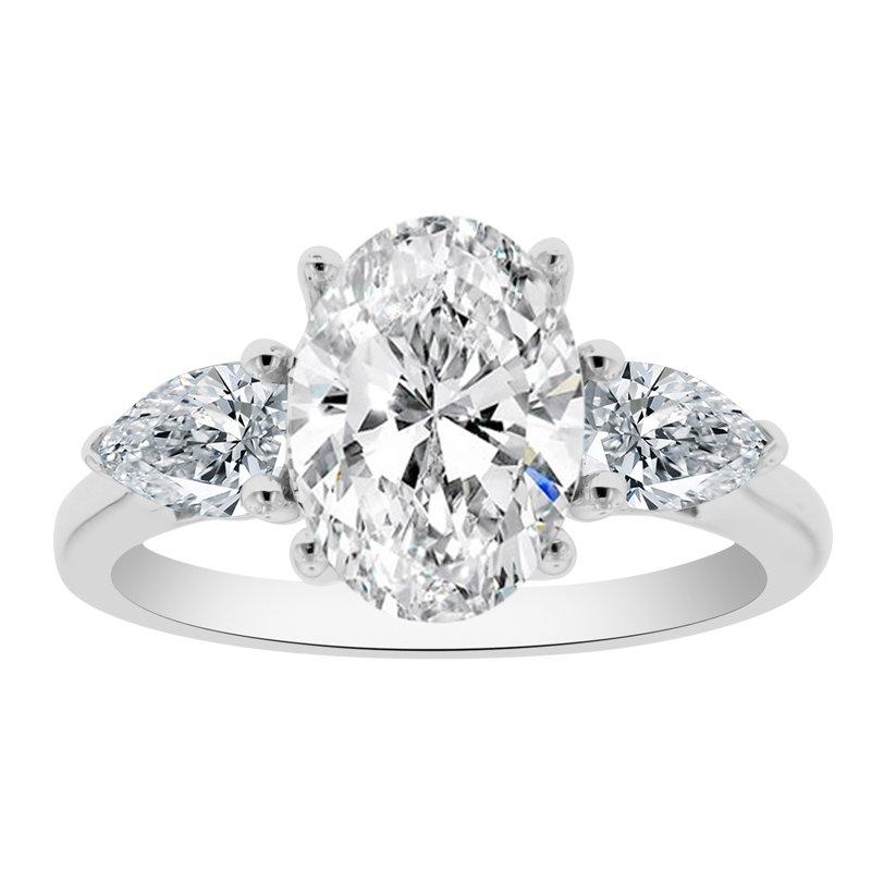 5/8ct tw NewBorn Lab Created Diamond Three Stone Engagement Ring Setting in 14K White Gold