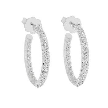 5/8ct tw Diamond Hoop Earrings in Sterling Silver & Platinum