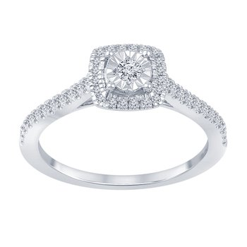 1/4ct tw Diamond Halo Engagement Ring in 10K White Gold