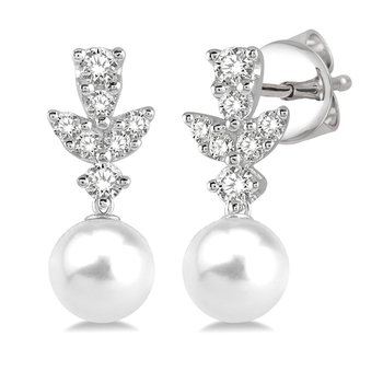 1/4ct tw Diamond & Pearl Fashion Earrings in 14K White Gold