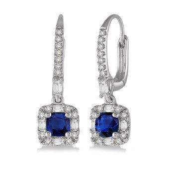 3/8ct tw Diamond & Blue Sapphire Halo Earrings in 14K White Gold