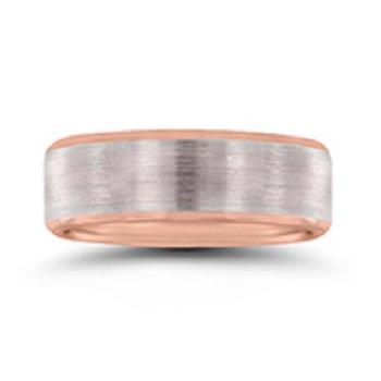 7mm Wedding Ring in 10K White & Rose Gold