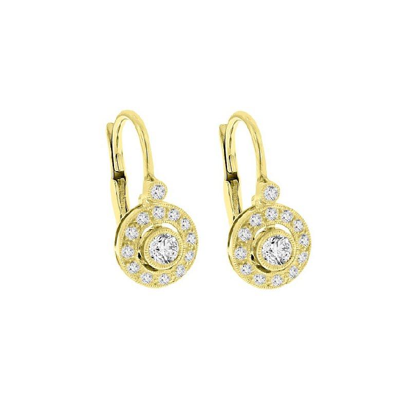 3/8ct tw Diamond Halo Dangle Earrings in 14K Yellow Gold