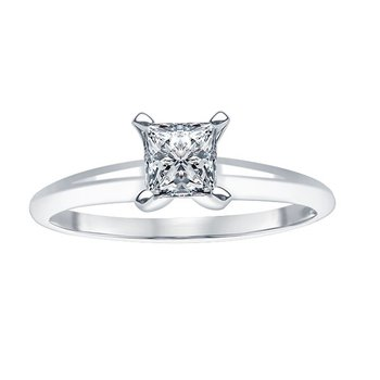 3/4ct Diamond Solitaire Engagement Ring in 14K White Gold