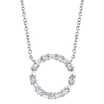 1/4ct tw Diamond Circle Necklace in 14K White Gold