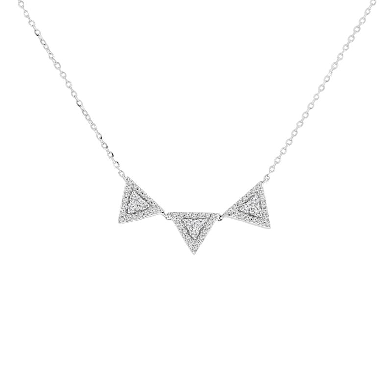 1/3ct tw Diamond Halo Necklace in 14K White Gold