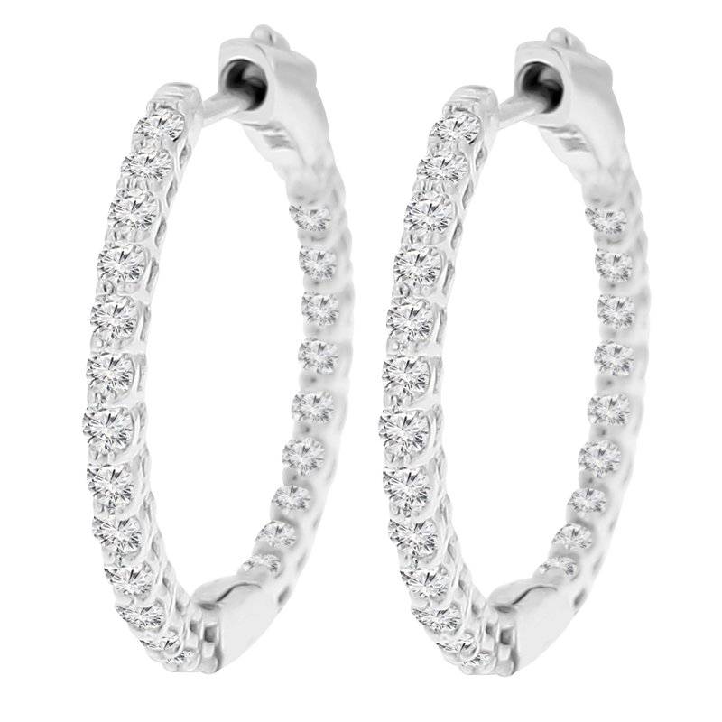 1ct tw Diamond Hoop Earrings in 14K White Gold