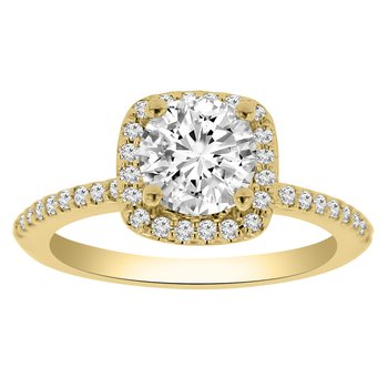1 1/8ct tw NewBorn Lab Created Diamond Halo Engagement Ring in 14K Yellow Gold