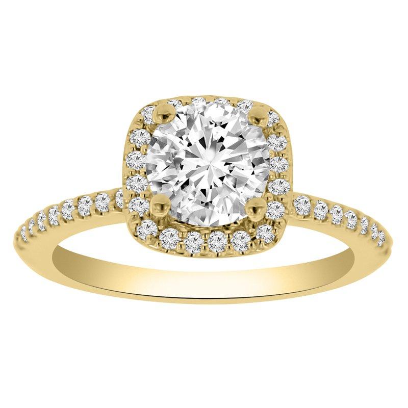 1 1/8ct tw NewBorn Lab Created Diamond Halo Engagement Ring in 14K Yellow Gold
