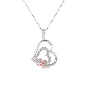 .03ct tw Diamond Heart Necklace in Sterling Silver and Rose Plating