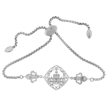 .01ct tw Diamond Nola Collection Cathedral & Fleur De Lis Bolo Bracelet in Sterling Silver