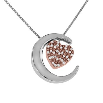 1/8ct tw Diamond Moon & Back Necklace in 10K White & Rose Gold