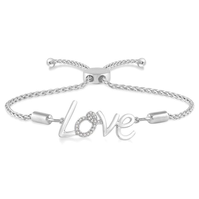 """1/14ct tw Diamond """"Love"""" Bolo Bracelet in Sterling Silver"""