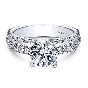 7/8ct tw Diamond Engagement Ring Setting in 18K White Gold