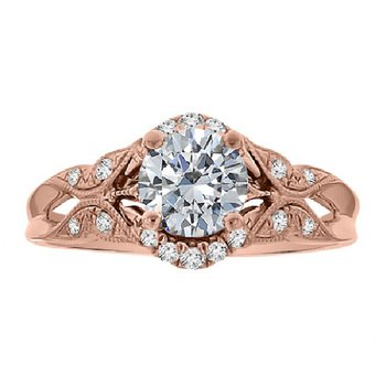 1/8ct tw Diamond Halo Engagement Ring Setting in 14K Rose Gold