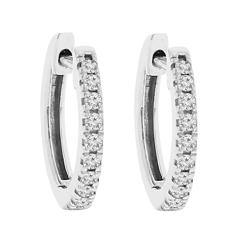 1/4ct tw NewBorn Lab Created Diamond Hoop Earrings in 14K White Gold