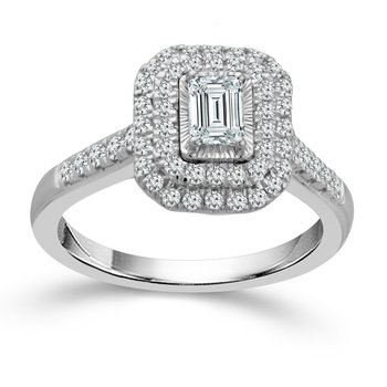 3/4ct tw Dimaond Halo Engagement Ring in 14K White Gold