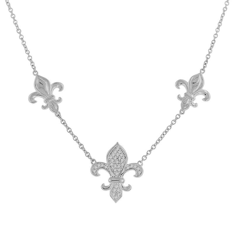 1/10ct tw Diamond Nola Collection Fleur De Lis Necklace in Sterling Silver