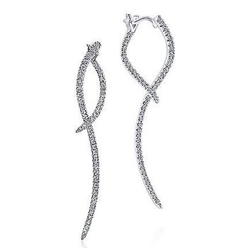 1/2ct tw Diamond Sculptural Drop Earrings in 14K White Gold