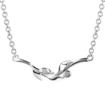 .01ct tw Diamond Vine Bar Necklace in Sterling Silver