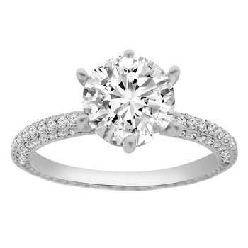 3/4ct tw Diamond Engagement Ring Setting in 18K White Gold